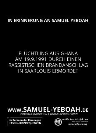 Virtueller Gedenkstein in Erinnerung an Samuel Yeboah